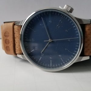 Brown Leather Banded Watch with Blue Face